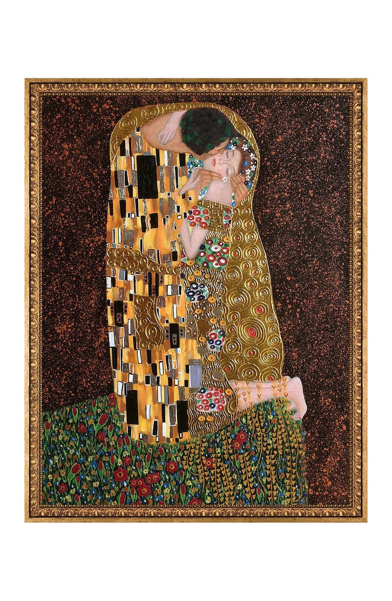 OVERSTOCK ART The Kiss (full view - Luxury Line) with Versailles Gold Frame, Main, color, MULTI