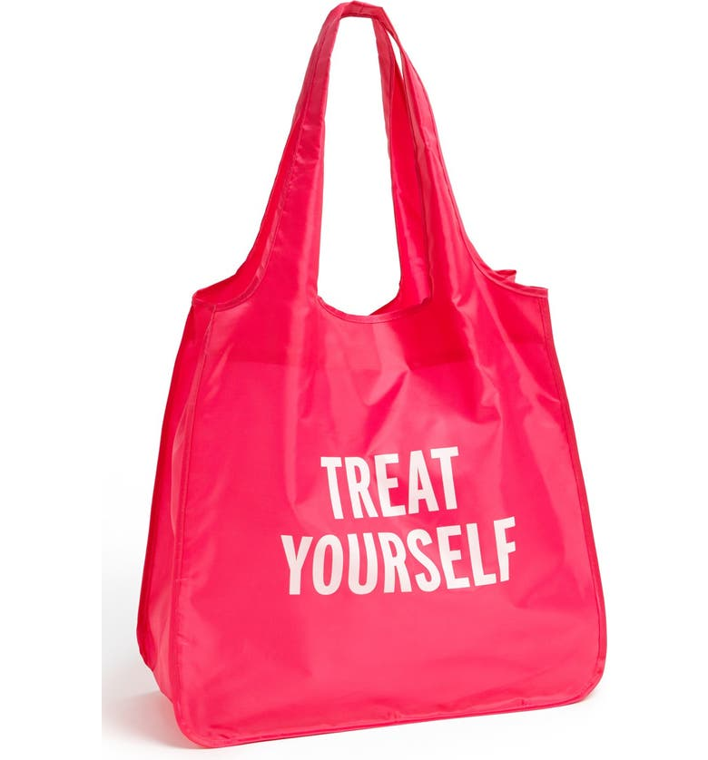KATE SPADE NEW YORK 'treat yourself' reusable shopping tote, Main, color, Pink