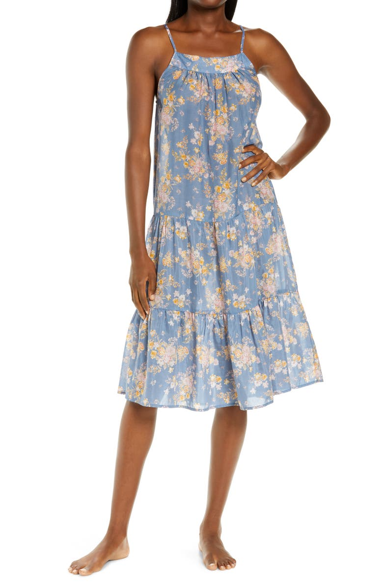PAPINELLE Loulou Tiered Cotton & Silk Nightgown, Main, color, INDIGO