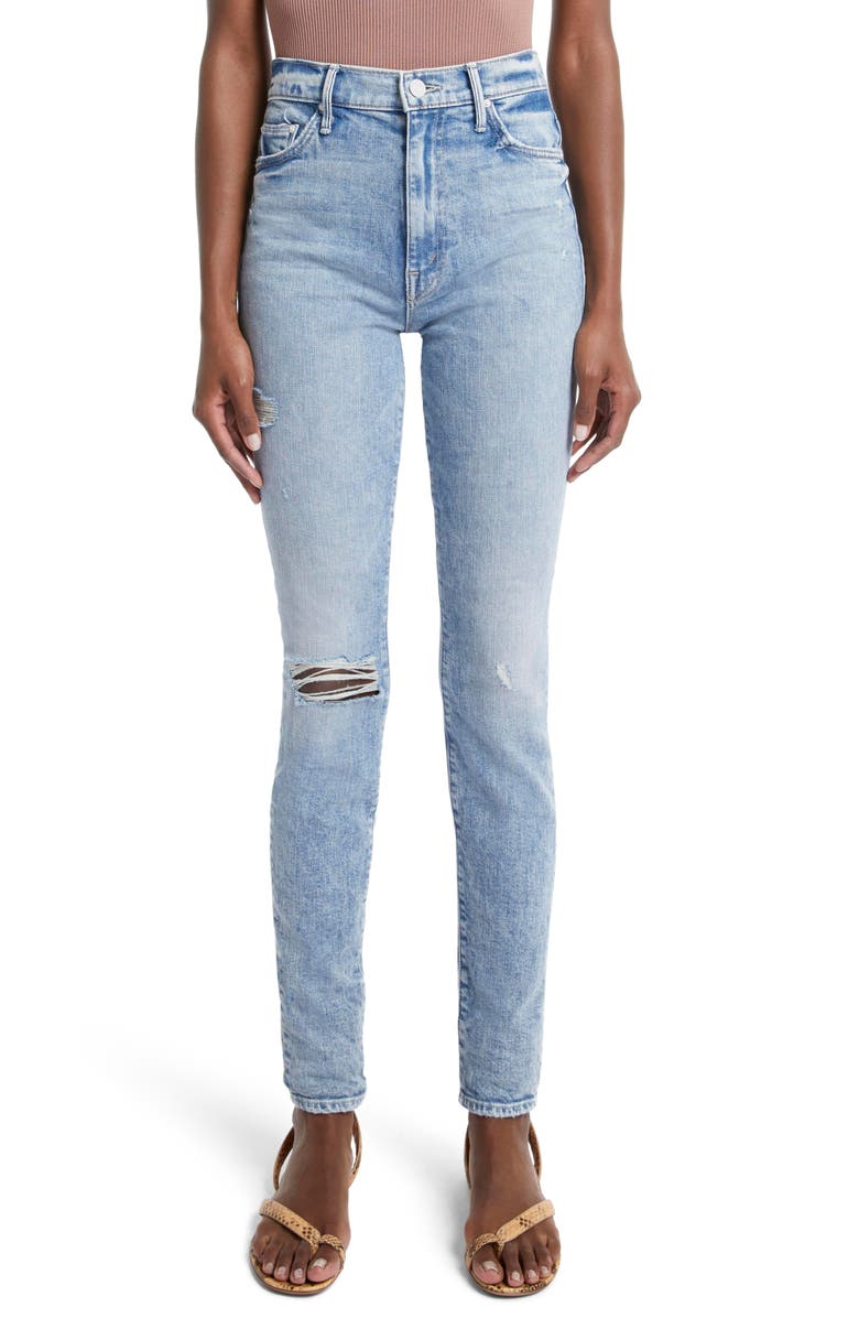 MOTHER The Super Swooner Ripped High Waist Skinny Jeans, Main, color, OUT W/ THE OLD IN W/ THE NEW