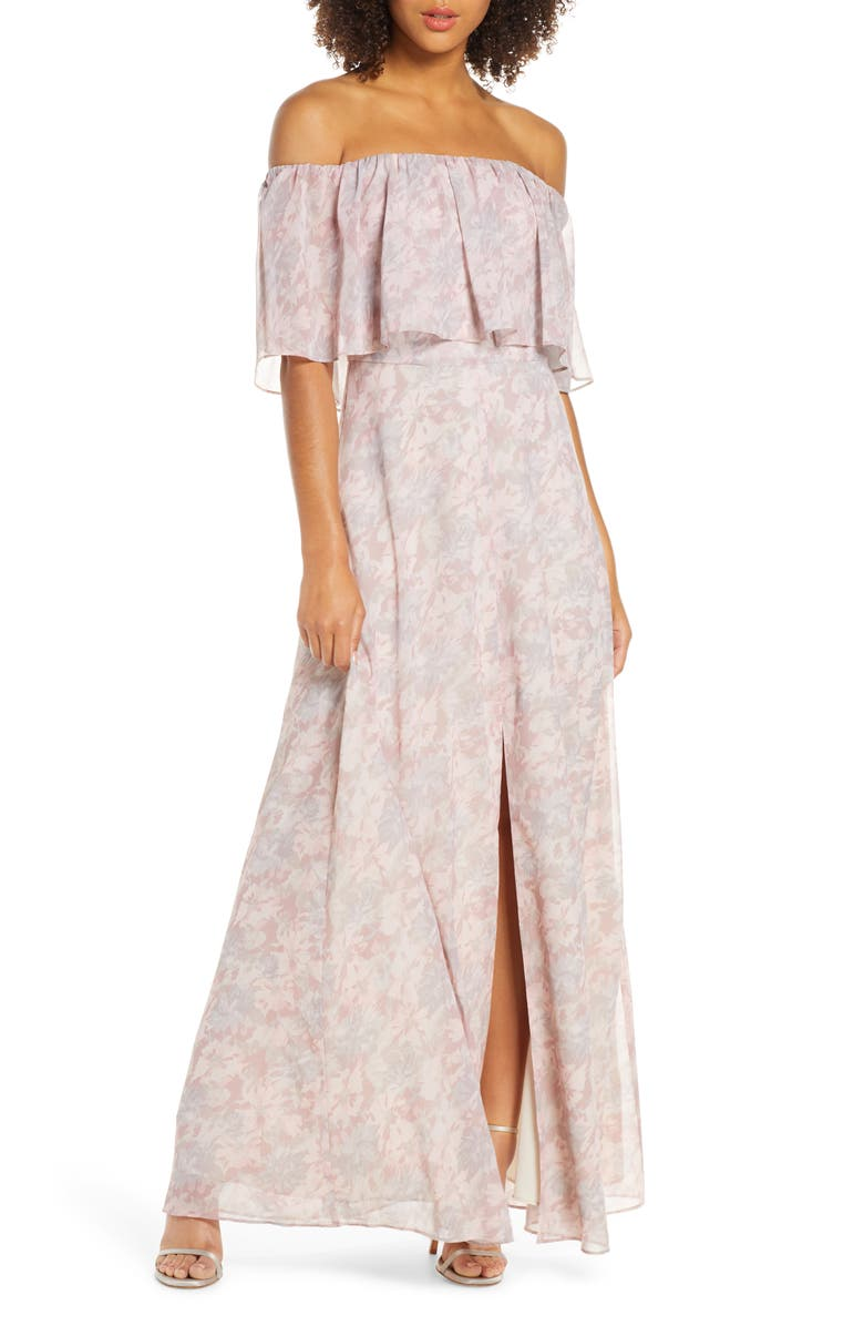 WAYF Floral Popover Off the Shoulder Chiffon Gown, Main, color, 681