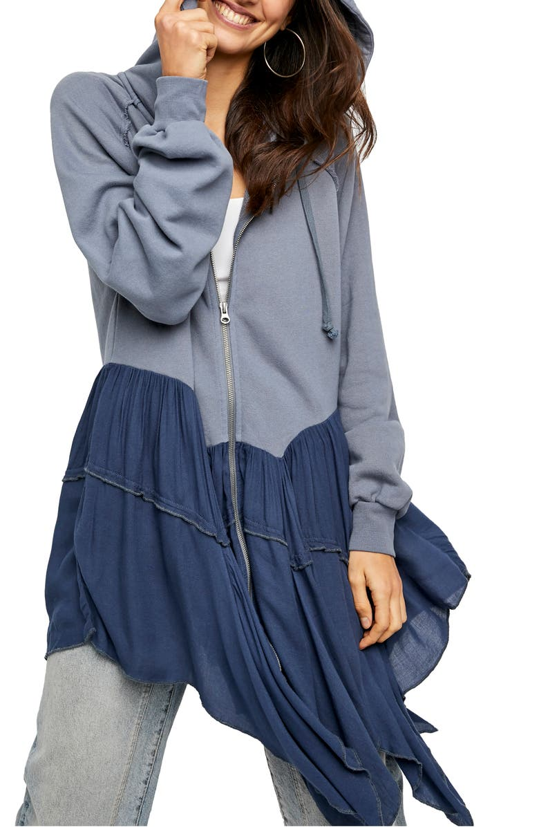FREE PEOPLE Moon Dust Hooded Cardigan, Main, color, WASHED DENIM