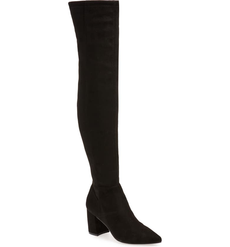 STEVE MADDEN Nifty Pointed Toe Over the Knee Boot, Main, color, BLACK