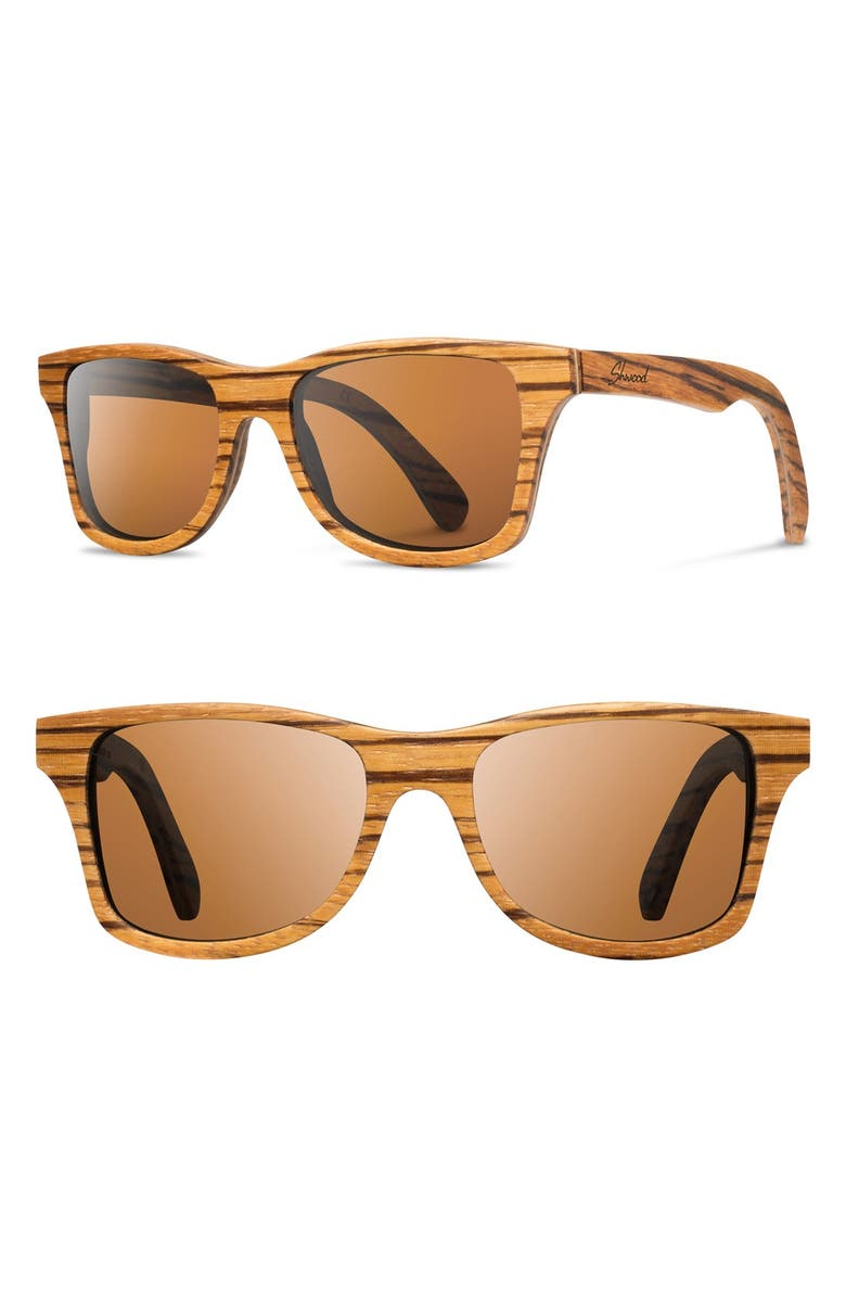 SHWOOD 'Canby' 54mm Polarized Wood Sunglasses, Main, color, 200