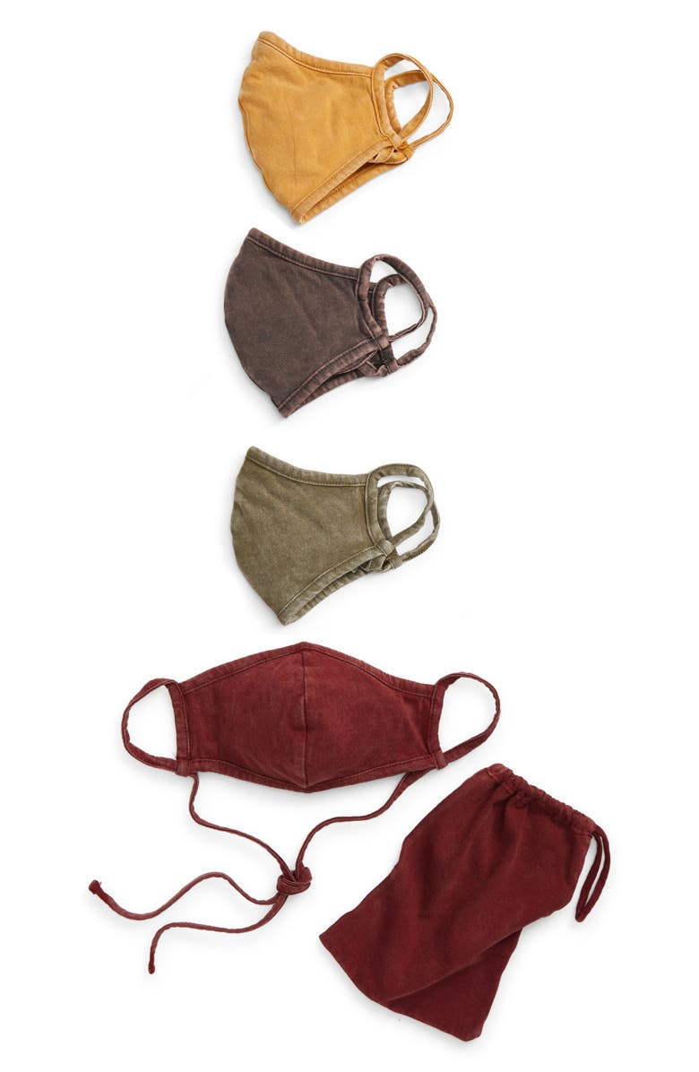 NORDSTROM Assorted 4-Pack Adult Face Masks, Main, color, BURGUNDY COMBO