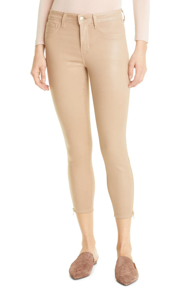 L'AGENCE Sabine High Waist Zip Cuff Pants, Main, color, CAPPUCCINO COATED