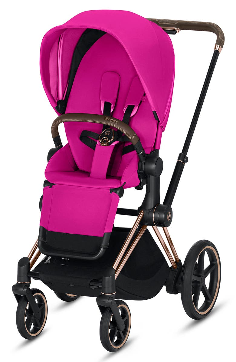 CYBEX e-Priam Rose Gold Electronic Stroller with All Terrain Wheels, Main, color, FANCY PINK