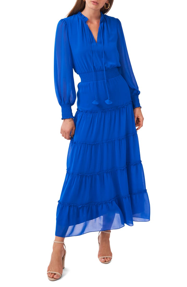 1.STATE Tie Neck Long Sleeve Tiered Maxi Dress, Main, color, ELECTRIC GLOW