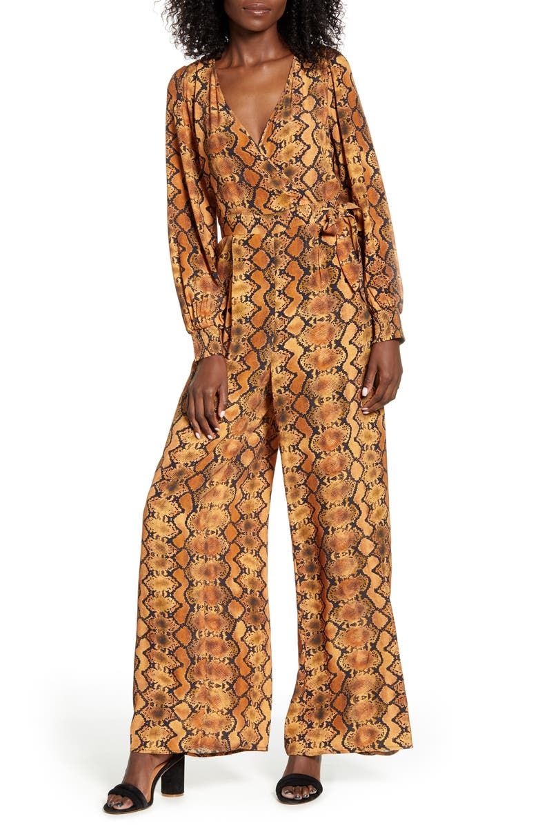 BAND OF GYPSIES Mappelle Long Sleeve Faux Wrap Wide Leg Jumpsuit, Main, color, 700