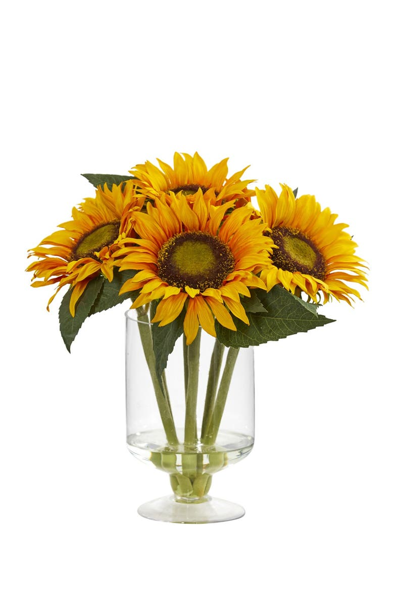 """NEARLY NATURAL 12"""" Sunflower Artificial Arrangement in Glass Vase, Main, color, YELLOW"""