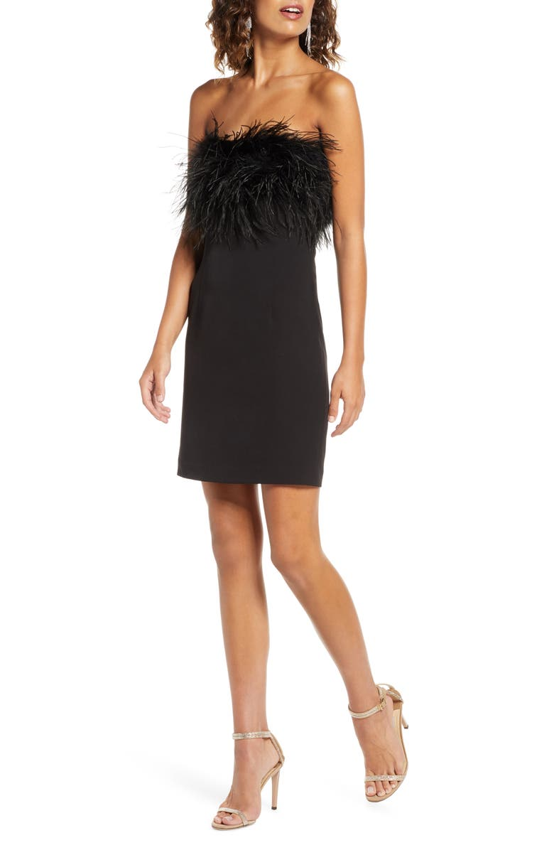 BARDOT Strapless Feather Neck Cocktail Dress, Main, color, 001