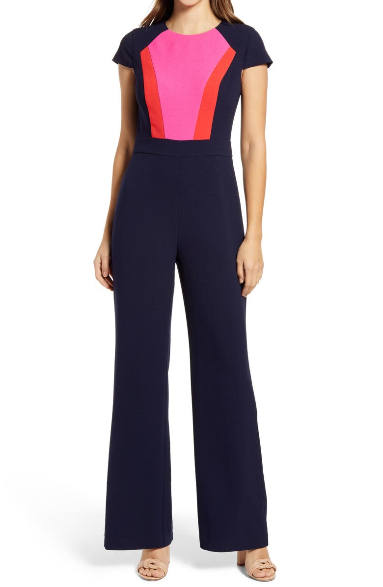 VINCE CAMUTO Color Block Short Sleeve Stretch Crepe Jumpsuit, Main, color, NAVY RED