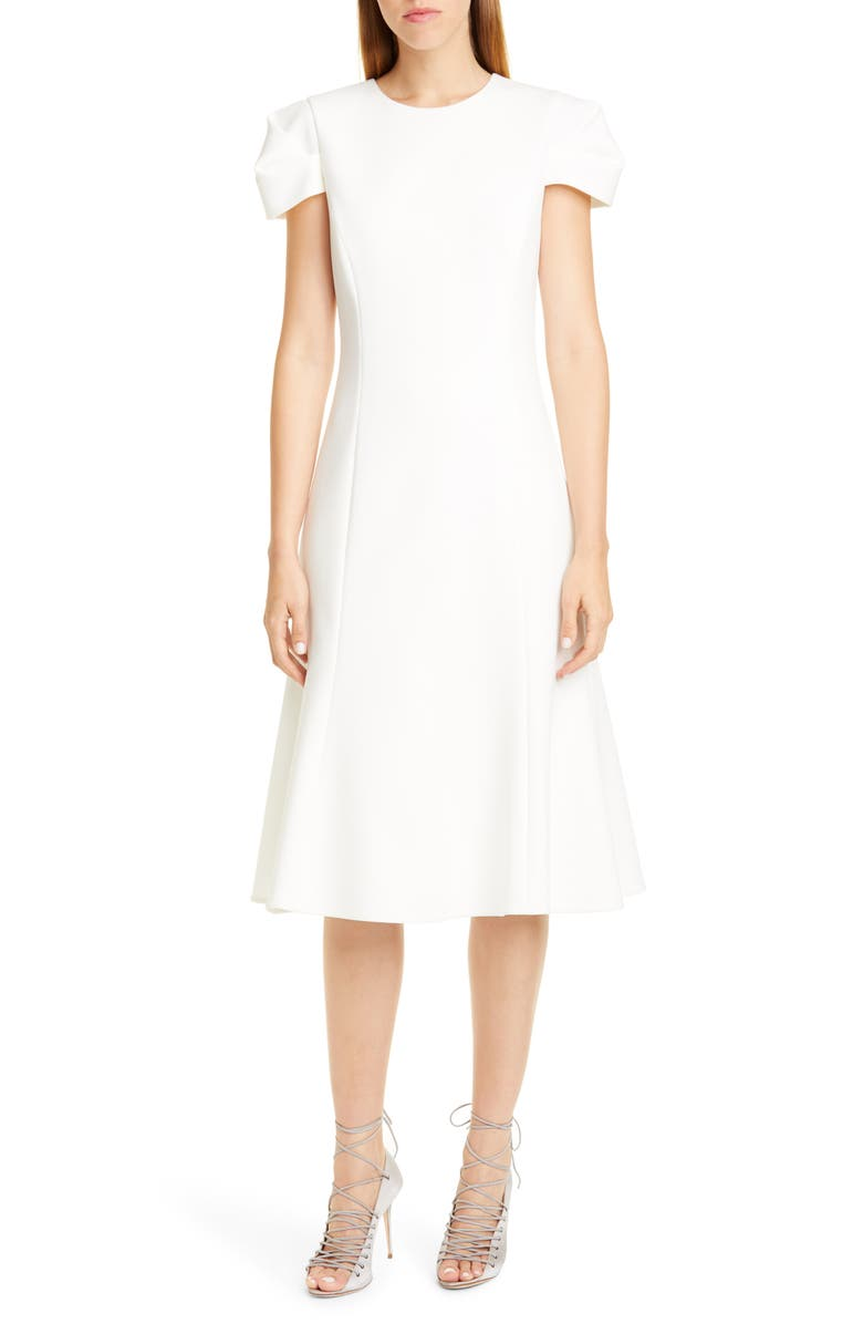 JASON WU COLLECTION Compact Crepe Fit & Flare Dress, Main, color, 100