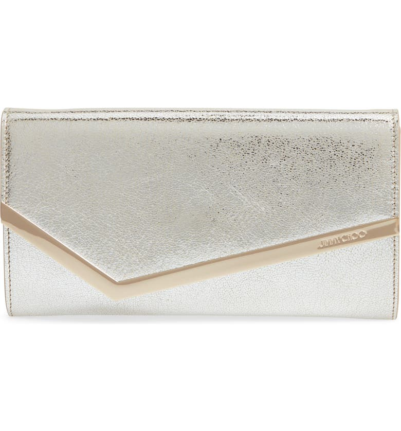 JIMMY CHOO Emmie Glitter Leather Clutch, Main, color, CHAMPAGNE