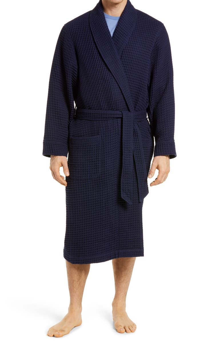 NORDSTROM Men's Waffle Knit Cotton Robe, Main, color, NAVY PEACOAT