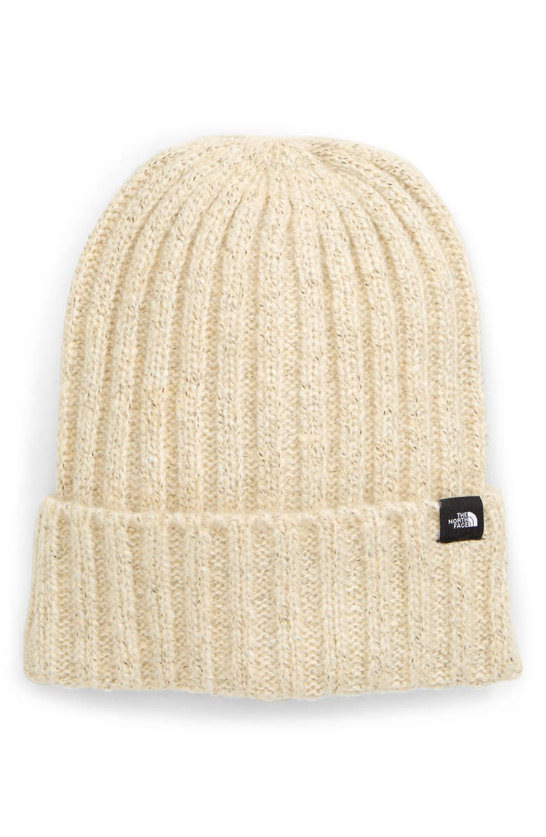 THE NORTH FACE Marled Rib Logo Beanie, Main, color, BLEACHED SAND