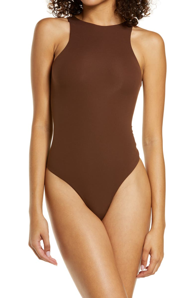 SKIMS Fits Everybody High Neck Bodysuit, Main, color, COCOA