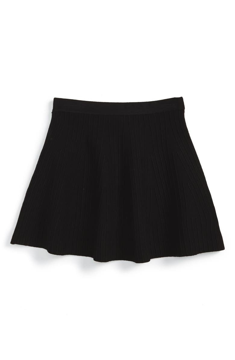 MILLY MINIS Textured Stripe Flare Skirt, Main, color, Black