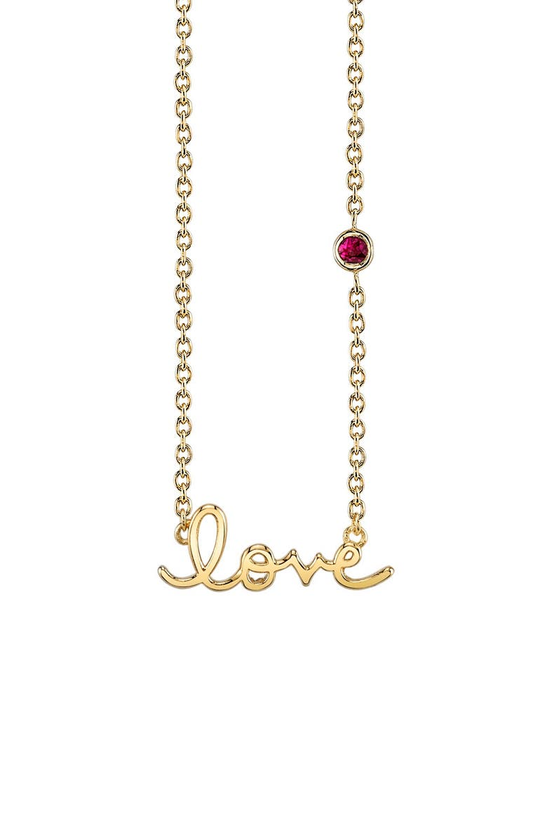 SYD BY SYDNEY EVAN Love Necklace with Ruby, Main, color, GOLD/ RUBY