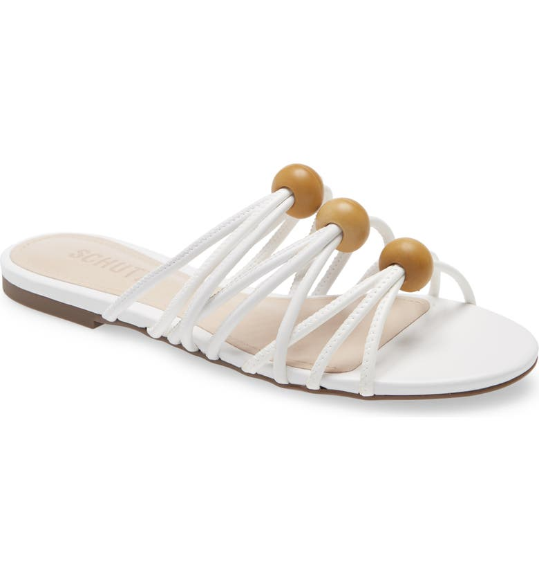 SCHUTZ Aster Strappy Slide Sandal, Main, color, WHITE FAUX LEATHER