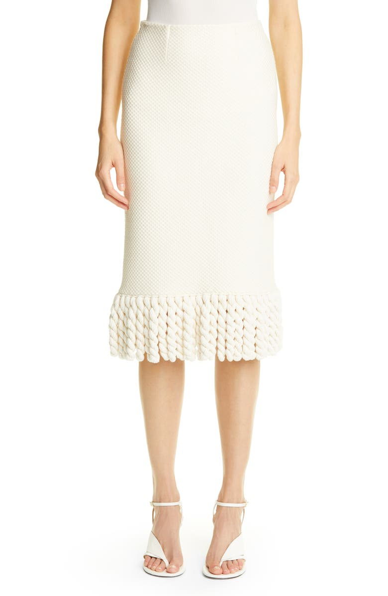 ST. JOHN COLLECTION Mini Float Texture Maxi Fringe Skirt, Main, color, IVORY
