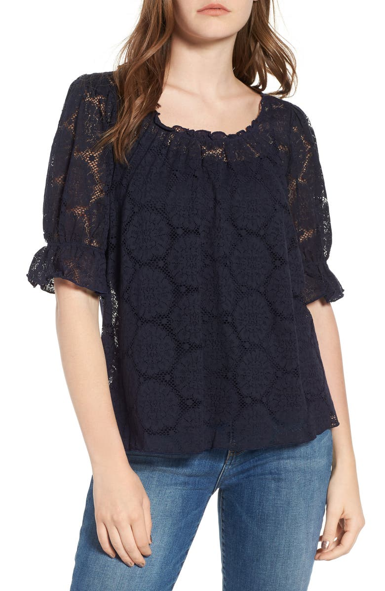 HINGE Puff Sleeve Lace Top, Main, color, NAVY NIGHT