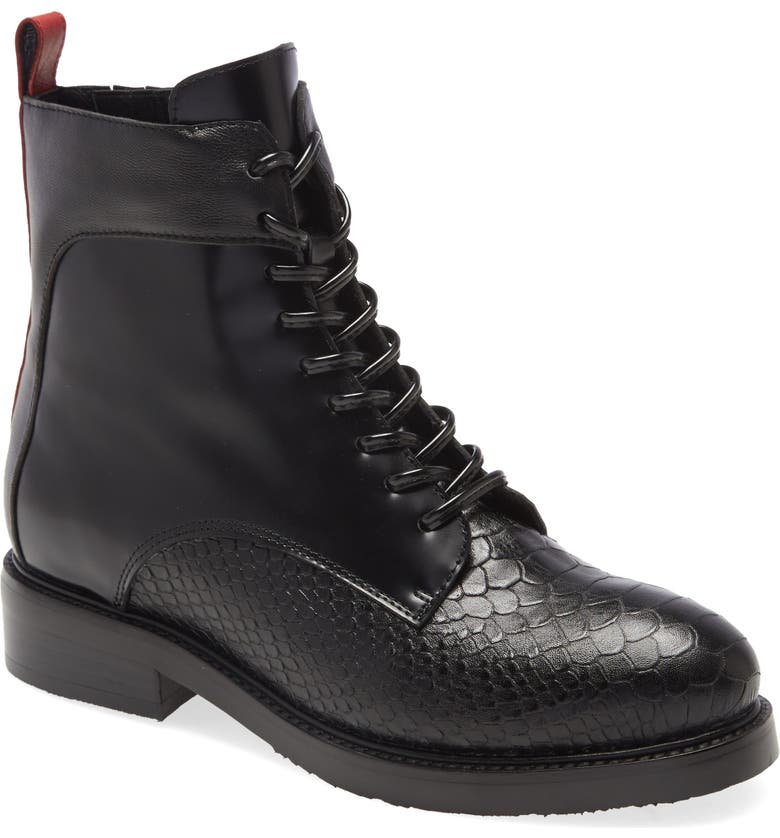 JEFFREY CAMPBELL Fischer Lace-Up Leather Boot, Main, color, BLACK SNAKE BOX COMBO