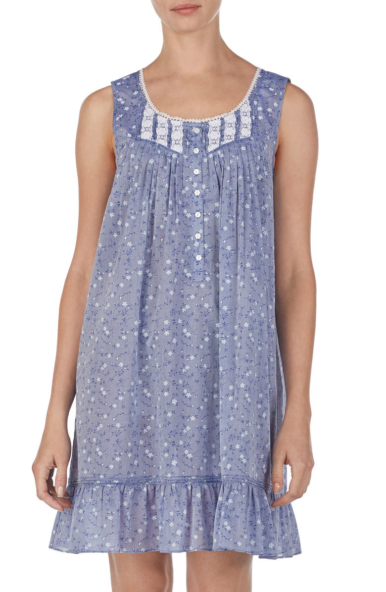 EILEEN WEST Chambray Chemise, Main, color, 400