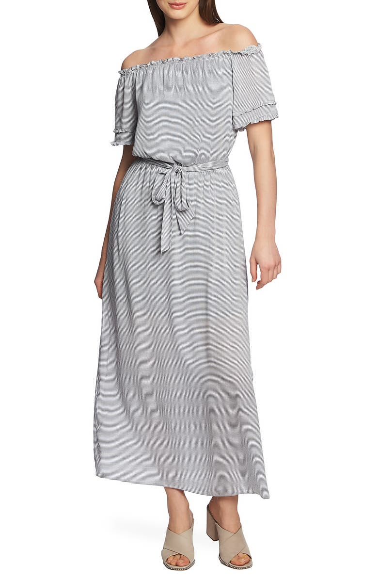 1.STATE Off the Shoulder Pinstripe Maxi Dress, Main, color, MIDNIGHT SKY