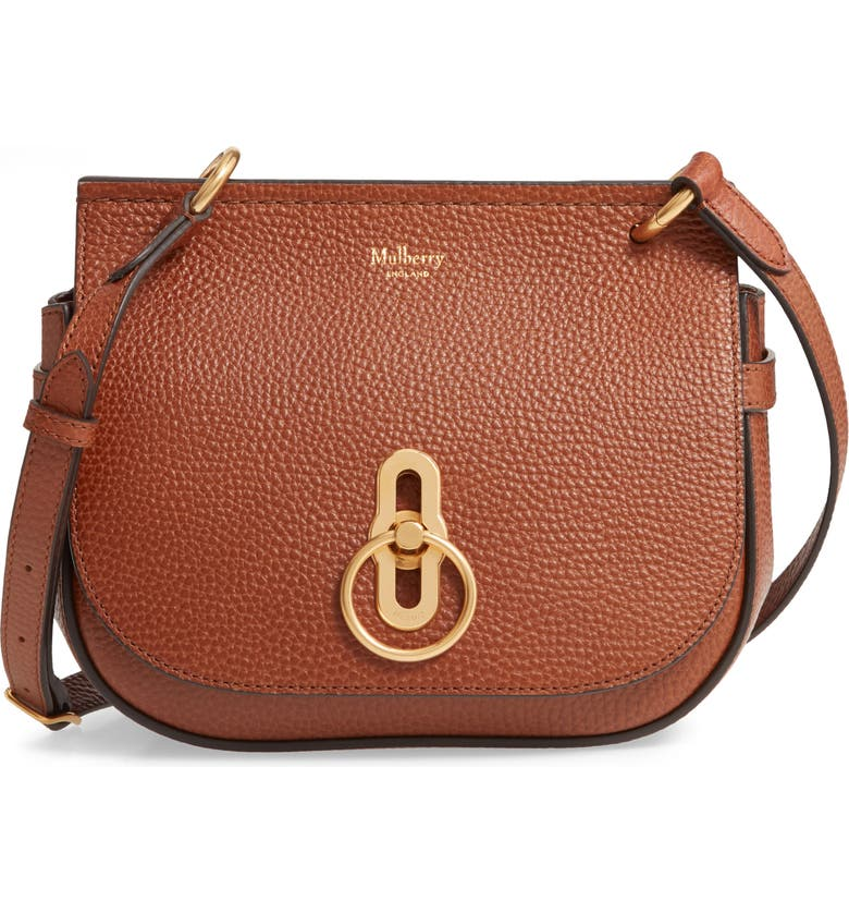 MULBERRY Small Amberley Leather Crossbody Saddle Bag, Main, color, OAK