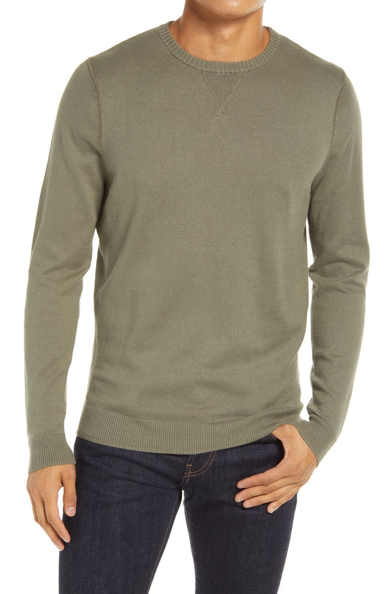 1901 Solid Crewneck Sweater, Main, color, OLIVE GROVE