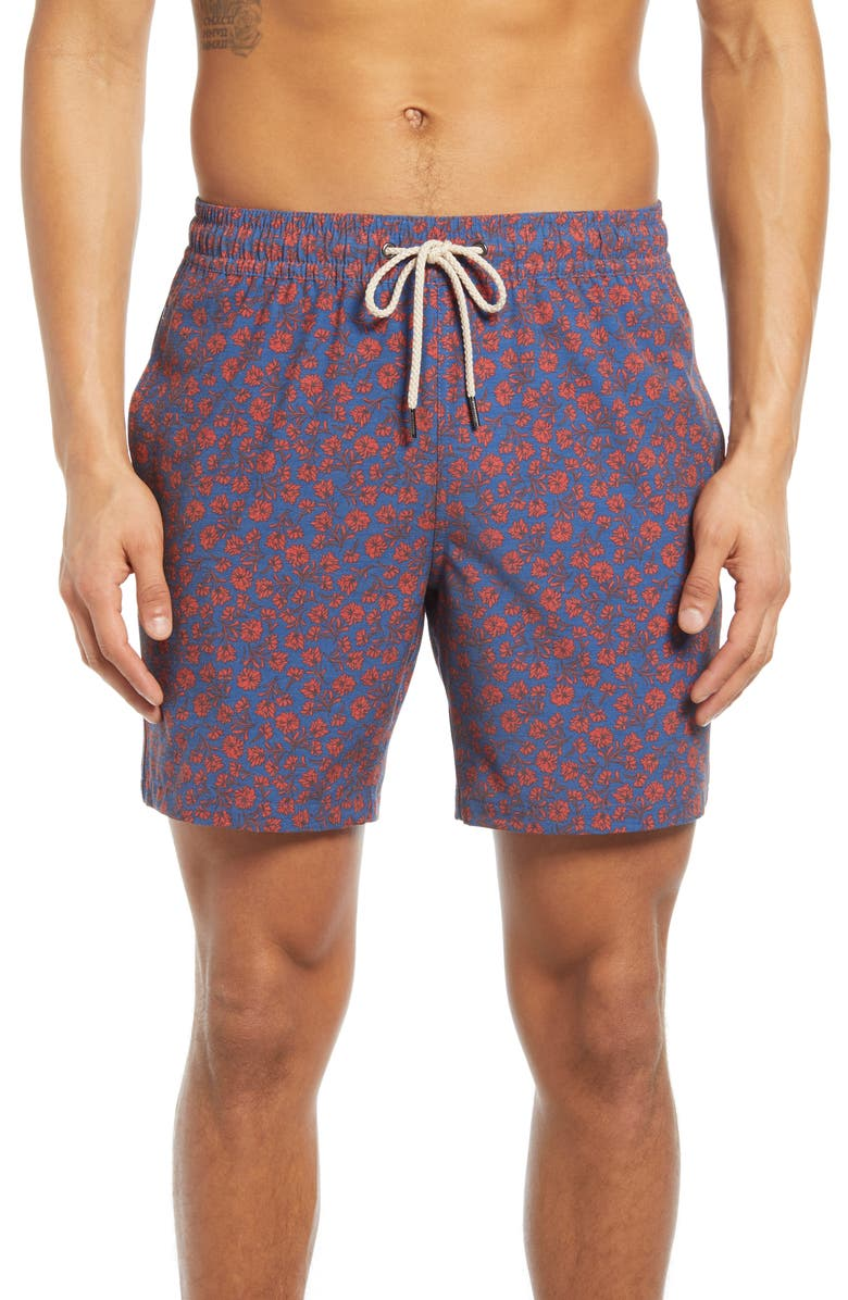 FAIR HARBOR The Bayberry Floral Swim Trunks, Main, color, RED MINI FLORAL