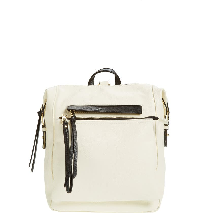 POVERTY FLATS BY RIAN Faux Leather Backpack, Main, color, 100