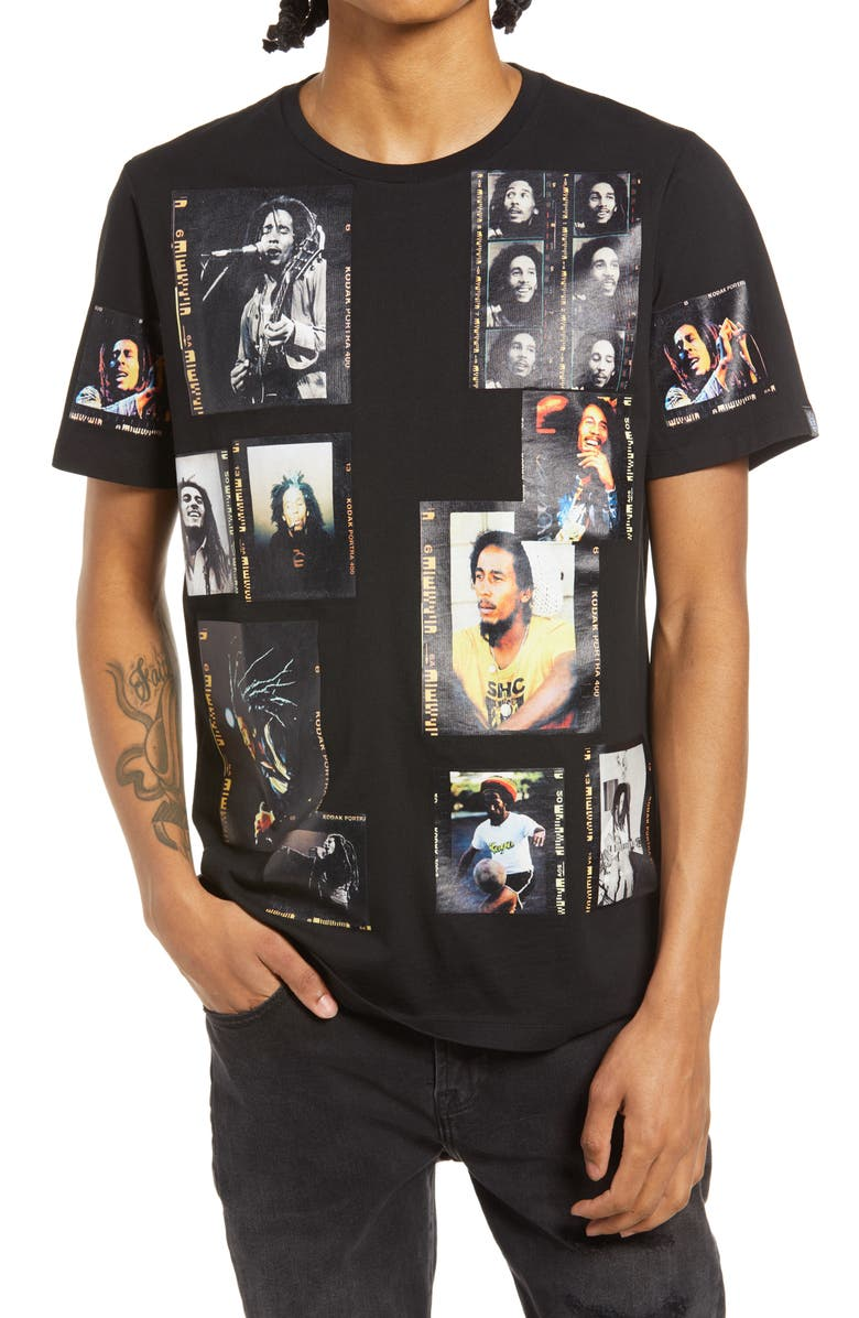 CULT OF INDIVIDUALITY Bob Marley Men's Graphic Tee, Main, color, Black