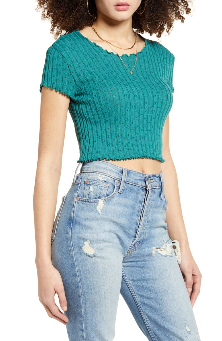 BDG URBAN OUTFITTERS Pointelle Sweater Tee, Main, color, 440