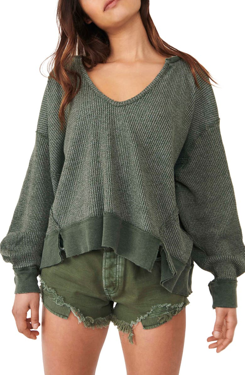 FREE PEOPLE Women's We the Free Buttercup Oversize Thermal Top, Main, color, AGED PINE