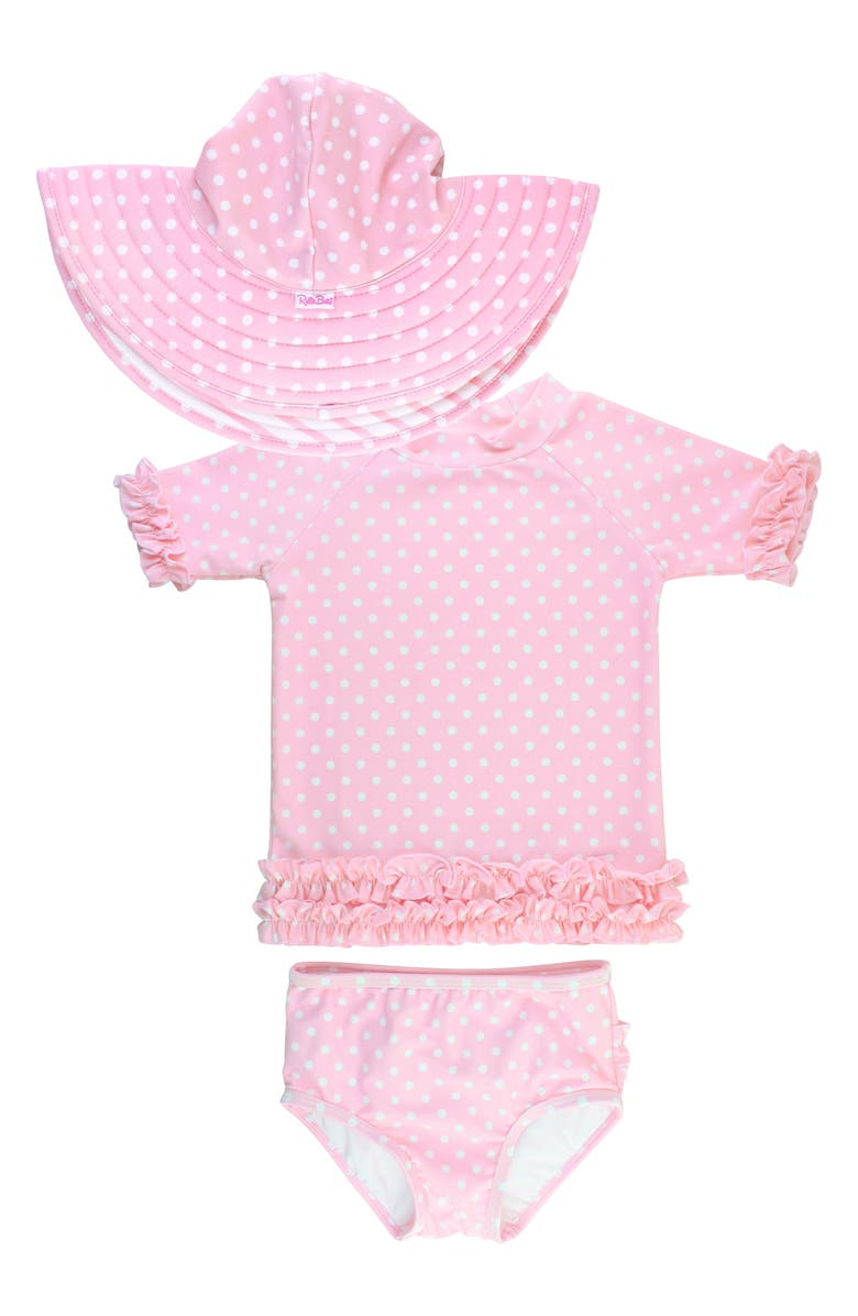 RUFFLEBUTTS Polka Dot Two-Piece Rashguard & Hat Set, Main, color, PINK