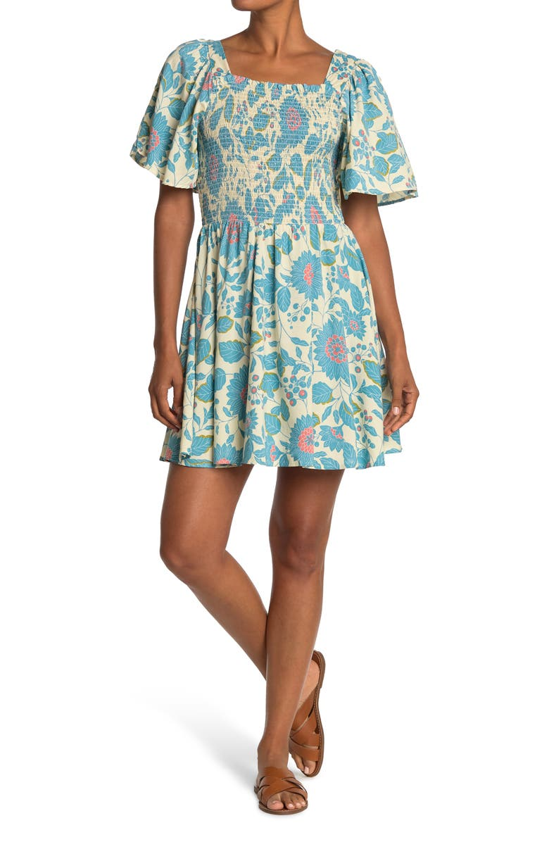 ANGIE Printed Dress with Smocking, Main, color, BLUE