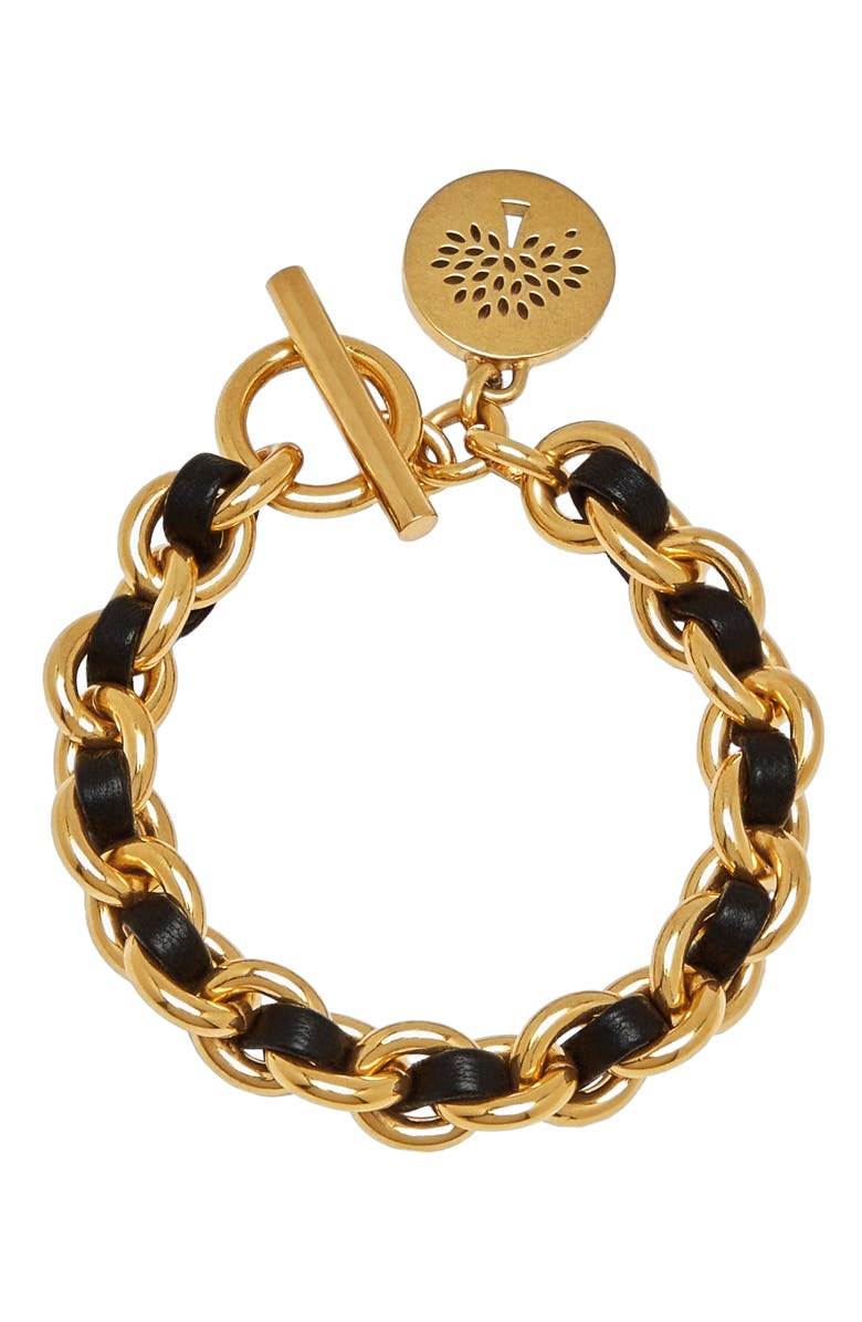 MULBERRY Medallion Leather Chain Bracelet, Main, color, 710