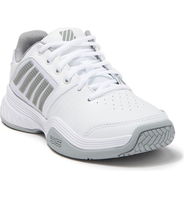 K-SWISS Court Express Leather Sneaker, Main, color, WHITE/HIGHRISE/SILVE