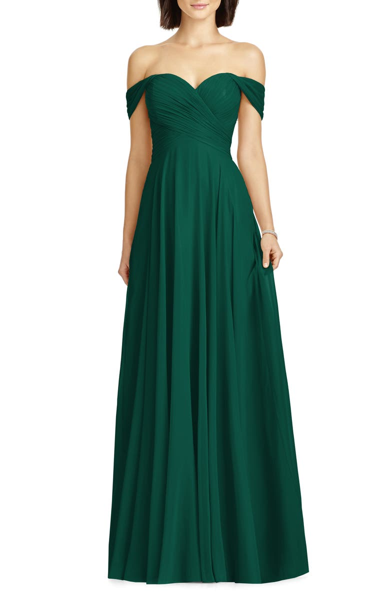 DESSY COLLECTION Lux Off the Shoulder Chiffon Gown, Main, color, HUNTER