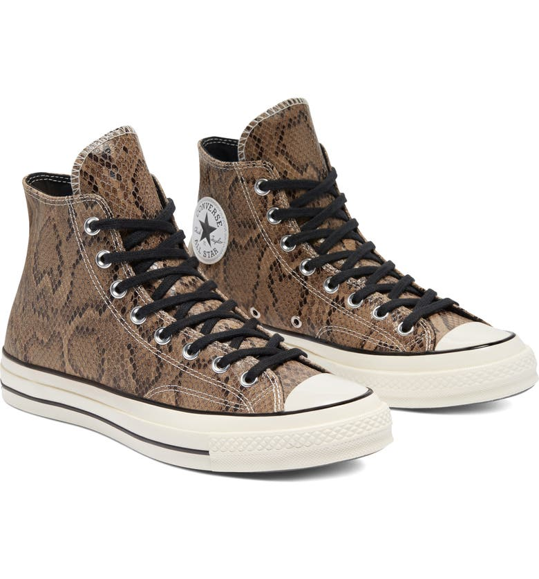 CONVERSE Chuck Taylor<sup>®</sup> All Star<sup>®</sup> 70 High Top Sneaker, Main, color, BROWN SNAKE PRINT LEATHER
