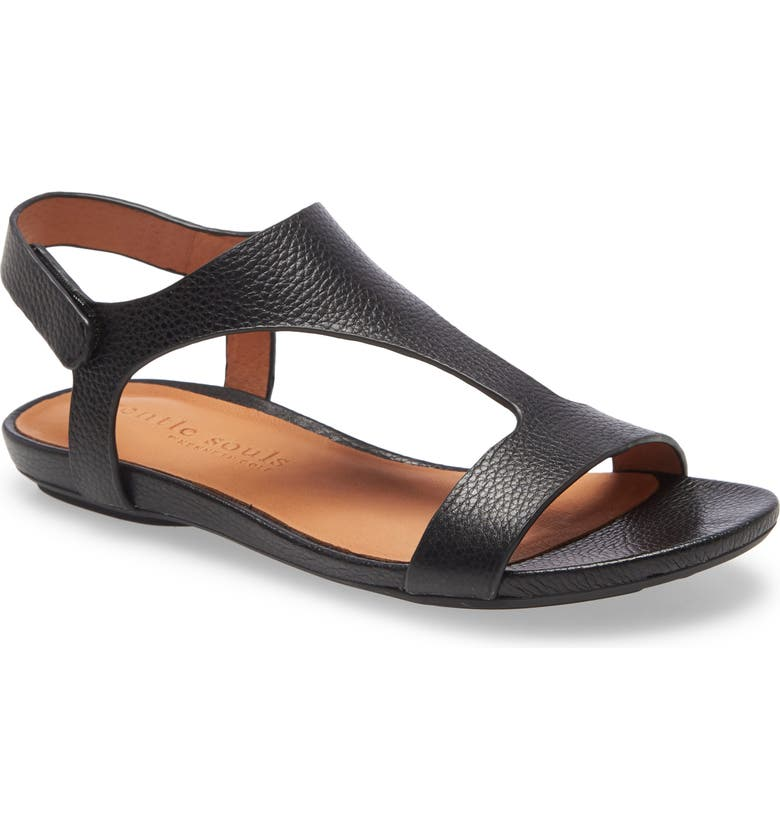 GENTLE SOULS BY KENNETH COLE Lark T-Strap Sandal, Main, color, BLACK LEATHER