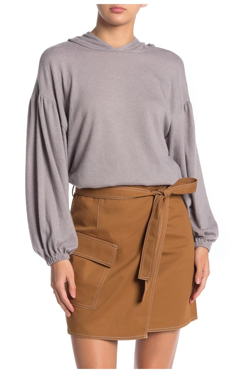 ALL IN FAVOR Hooded Brushed Rib Sweater, Main, color, MAUVE GREY