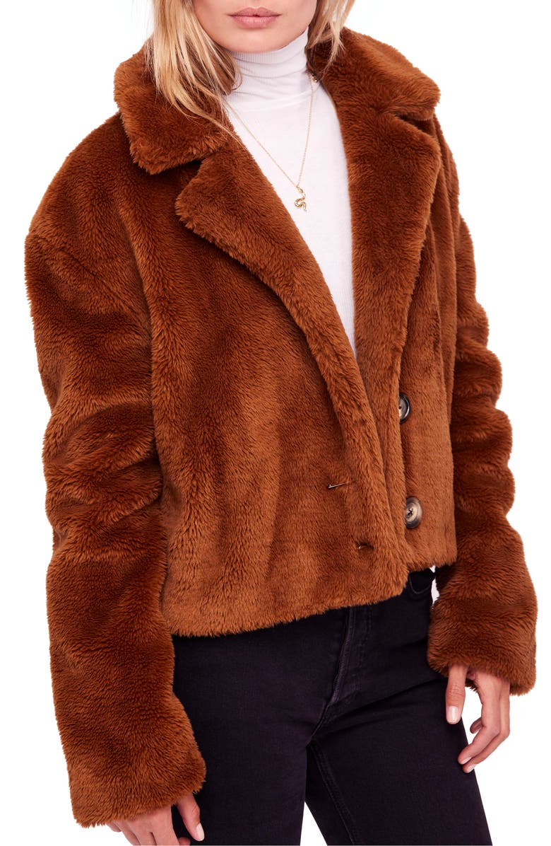 FREE PEOPLE Mena Faux Fur Jacket, Main, color, 200