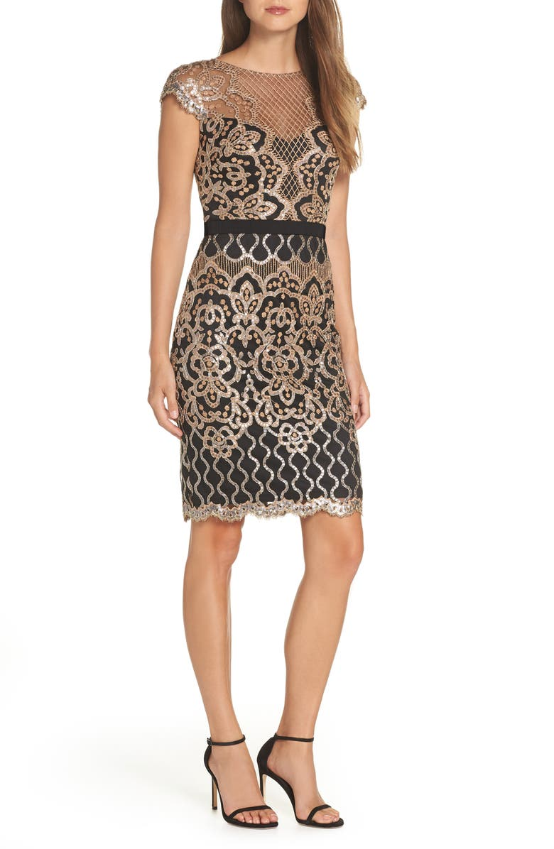 TADASHI SHOJI Sequin Lace Cocktail Dress, Main, color, 001