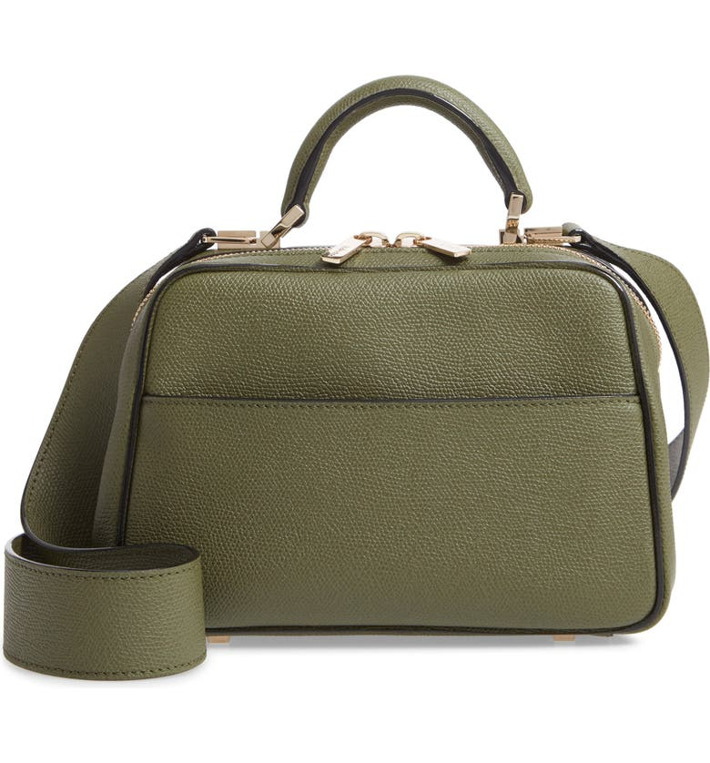 VALEXTRA Mini Serie S Leather Top Handle Bag, Main, color, VERDE MILITARE