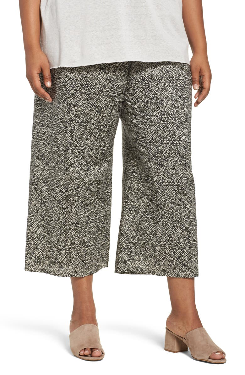 EILEEN FISHER Droplet Print Organic Cotton Crop Pants, Main, color, 272
