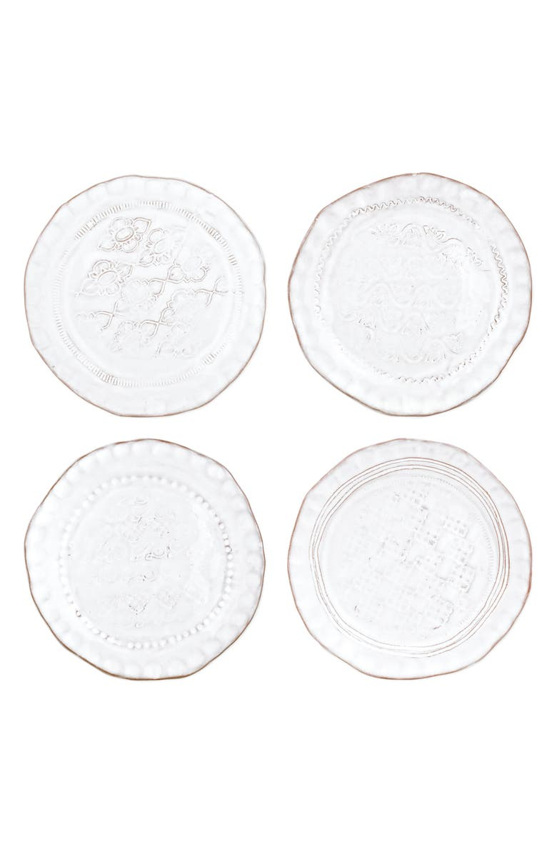 VIETRI Bellezza Set of 4 Assorted Stoneware Canape Plates, Main, color, 100