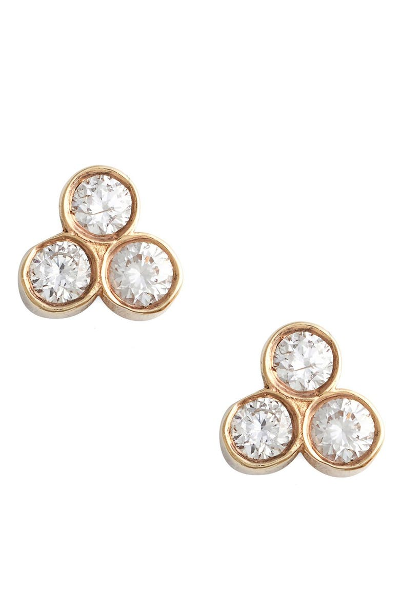 ZOË CHICCO Diamond Cluster Stud Earrings, Main, color, YELLOW GOLD